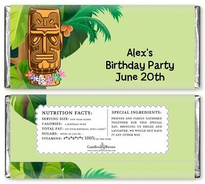 Luau Tiki Personalized Birthday Party Candy Bar Wrappers - Candy Bar Favor • 8.60£