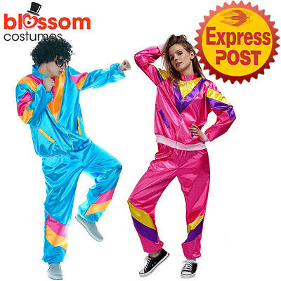 AU39.95 • Buy N176 Couple Womens Mens 80s 90s Sweat Tracksuit Costume Shell Suit Retro Outfit