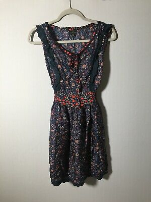 AU34.99 • Buy Kate Moss Topshop Womens Blue Floral Fit And Flare Dress Size 8 Sleeveless