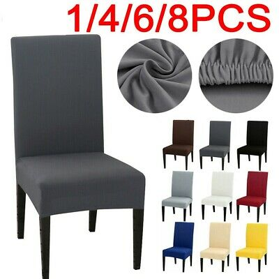 1/4/6PCS Dining Chair Seat Covers Slip Stretch Wedding Banquet Party Removable • 3.99£