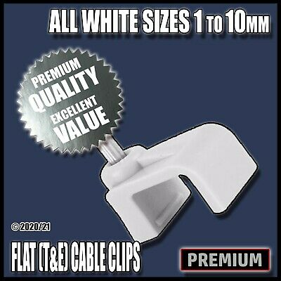 White Flat T&E Cable Clips Nail Tacks Clamps Holders Electrical Wire Lead 6242Y • 5.89£
