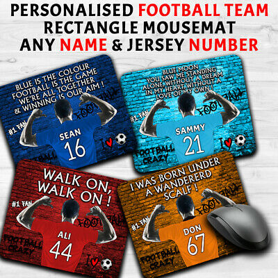 Personalised Name Football Club Mouse Mat Office Work Computer PC Mens All Teams • 5.45£