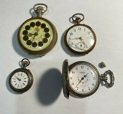 $ CDN0.99 • Buy Lot Of Four Antique Pocket Watches Includes 2 Silver Ones. For Repair.
