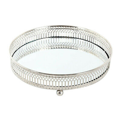 £9.99 • Buy Mirrored Tea Light Holder Silver Effect Votive Tray Glass Candle Plate 20cm