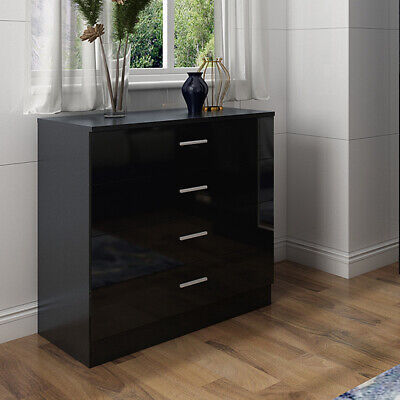 Home High Gloss Chest Of 4 Drawers Bedroom Furniture Black Storage Cabinet • 59.99£