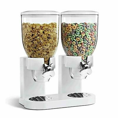 White Airtight Double Cereal Dispenser Keeps Dry Foods Fresh Hotel Kitchen • 12.99£