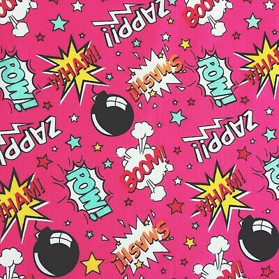 Polycotton Fabric PINK  SUPERHERO POW COMIC Material Craft METRE HALF METRE • 4.50£