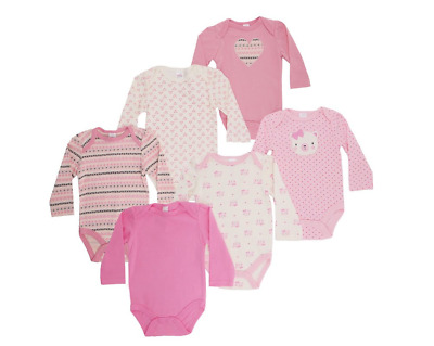 Baby Girl Multi-Pack Of 3 Bodysuits Vests Long Sleeve Cotton 0-3 3-6 6-9 Months • 9.50£