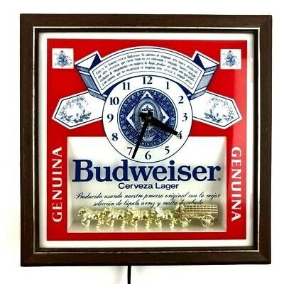 $ CDN171.74 • Buy Vintage 1986 Budweiser  Pull-Chain Lighted Wall Clock Beer Sign W/ Clydesdales