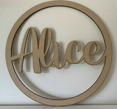 Personalised Wooden Name Circle Hoop Sign Wall Plaque Wood MDF Choice Of Fonts 2 • 9.99£