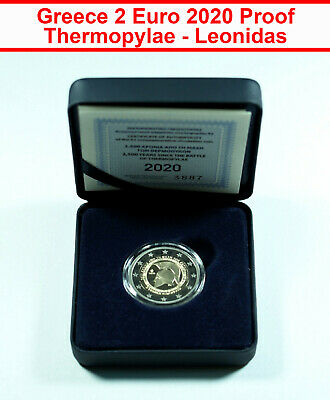 $ CDN224.08 • Buy 00553 Greece 2 Euro 2020 Proof Coin - Thermopylae Leonidas Sparta CoA + Box