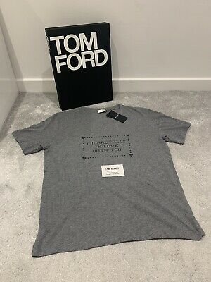 Saint Laurent 'I'm Brutally In Love With You' Grey T-shirt - Size Small • 175£