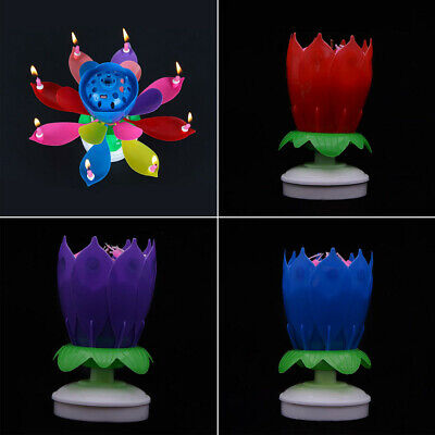 $ CDN6.48 • Buy Rotating Lotus Blossom Candle Birthday Flower Musical Floral Magic Cake Candles