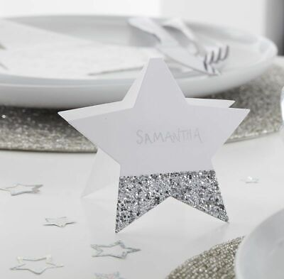 £3.99 • Buy Silver Glitter Star Christmas Place Cards Xmas Party Dinner Table Decor Name Set