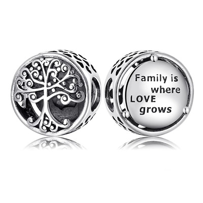 Family Tree Charm Genuine 925 Sterling Silver 💞 Fits Moments Bracelets Gift Bag • 10.96£