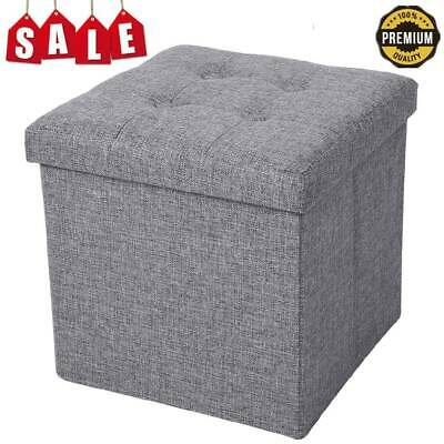 Folding Fabric Foot Rest Stool Cube Footstool Pouf Bench Storage Space Box Seat • 11.99£