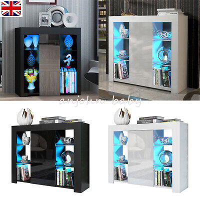 UK Wooden High Gloss Display Cabinet Cupboard Sideboard With RPG LED Light • 89£