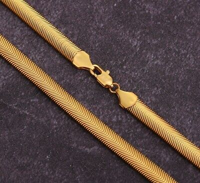 Gift Bag + 6mm Gold Tone Flat Snake Chain Necklace 16-26 Inches Gold SN6FLG UK • 4.99£