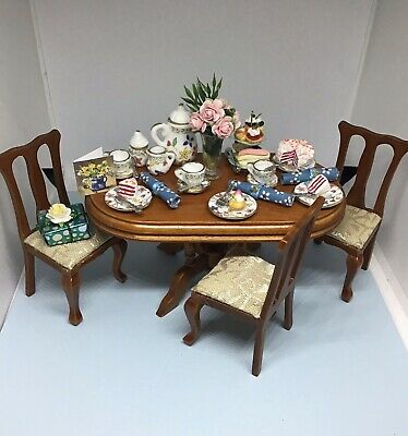 Dolls House 1/12 Scale Birthday Table/chairs With Handmade Accessories • 45£