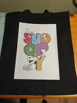 Snoopy Tote Bag 100% Cotton, Environmentally Friendly. Re-usable. Long Handles. • 10£