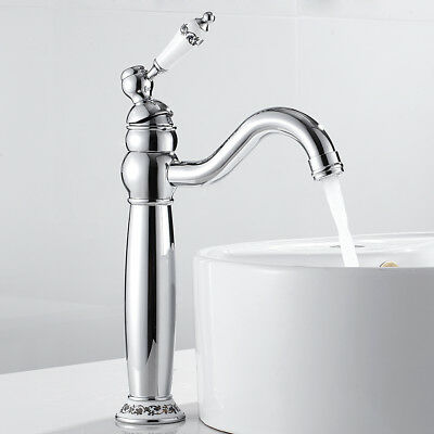 Traditional  Bathroom Basin Mixer Taps Ceramic Handle Tall Brass Faucets Chrome • 34.89£