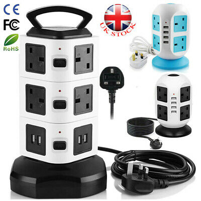 Switched Surge Protected Tower Socket 3M Extension Lead 10 Way 4 USB UK Plug • 19.93£