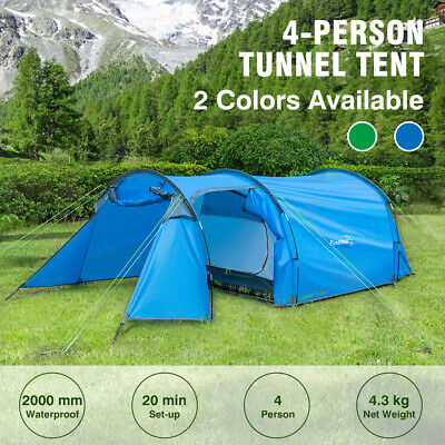 4 Man Camping Tunnel Tent Waterproof Travel Outdoor Hiking Park Shelter W /Bag • 33.99£