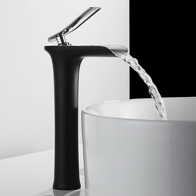 Tall Waterfall Bathroom Basin Mixer Taps Brass Counter Top Faucets  Black Tap • 38.79£