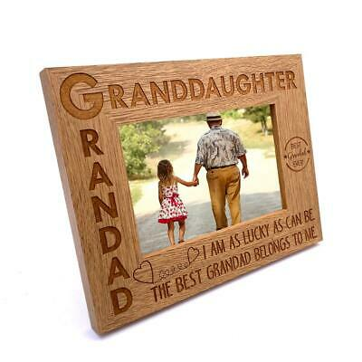 £10.99 • Buy Grandad And Granddaughter Wooden Photo Frame Gift FW455