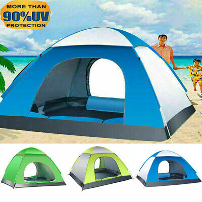 AU45.99 • Buy Waterproof Tent 3-4 Person Man Camping Dome Tent Pop Up Hiking Shelter Beach AU