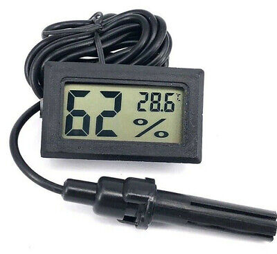 Thermometer Humidity Meter With Probe For Hydroponic Grow Rooms • 6.99£
