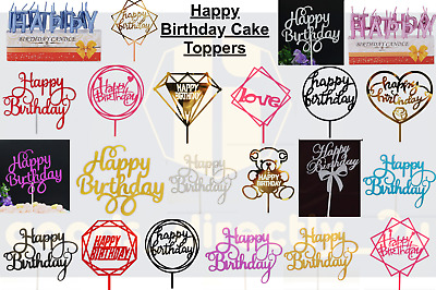 £1.99 • Buy Happy Birthday Cake Topper Glitter Decoration Sparkle Bling Candles Party Sign
