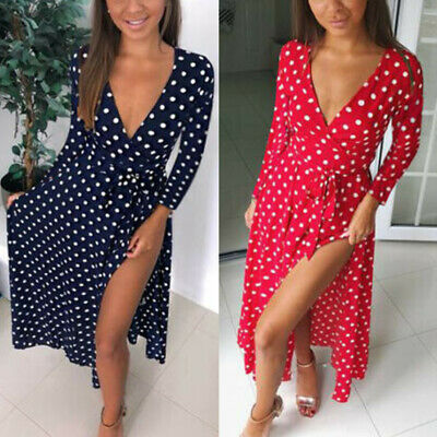 UK Womens Polka Dot Maxi Wrap Dress Ladies Summer Holiday V Neck Party Prom Gown • 7.99£