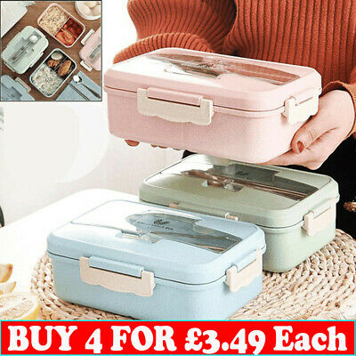 3 Compartments Lunch Box For Kid Adult Food Container Set Bento Storage Boxes BC • 7.09£