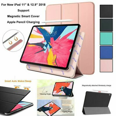 AU17.99 • Buy Smart Leather Case + Magnetic Pencil Charging Cover For IPad Pro 12.9  11  2018