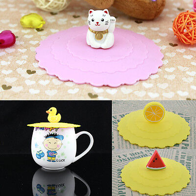 £1.75 • Buy Cute Anti-dust Cartoon Silicone Glass Cup Cover Coffee Mug Suction Seal Lid.dr