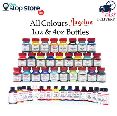 Angelus Acrylic Leather Paint For Sneaker Boot Shoes Bag - All Colours - 1oz/4oz • 7.50£