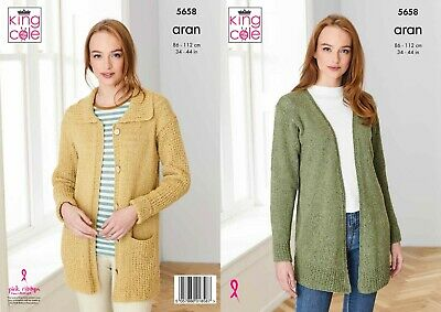 Ladies Long Line Cardigan's Aran Knitting Pattern 34-44   King Cole 5658 • 2.95£