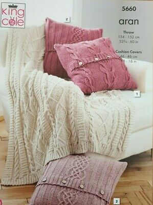 £2.95 • Buy Cable Design Throw & Cushion Covers In Aran Knitting Pattern   King Cole 5660