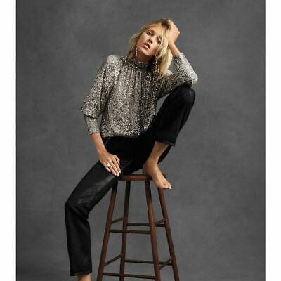 $ CDN79.29 • Buy New Anthropologie Luna Sequined Blouse By Sunday In Brooklyn  $148 SILVER  Small