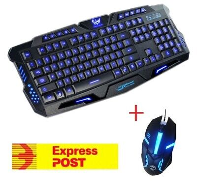 AU29.99 • Buy Pro LED Gaming Keyboard And Mouse Combo Bundles Wired USB For PC Laptop Xbox