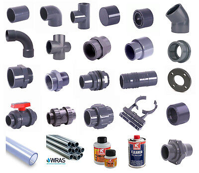 Koi Pond PVC Solvent Weld Imperial Pressure Pipe, Fittings, Valves. 1/2  To 4  • 15.05£