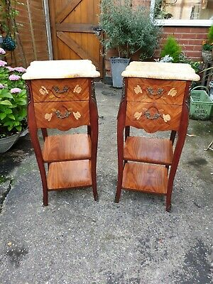 French Marquetry Bedside Tables Cabinets With Marble Tops Louis XV Bombe Style • 495£