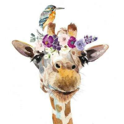 £5.49 • Buy Pack Of 20 Floral Giraffe Paper Napkins For Decoupage, Table, Party