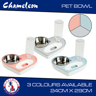 £9.85 • Buy Twin Bowl With Water Feed For Dog, Puppy, Cat Wet & Dry Feeding Food Stand