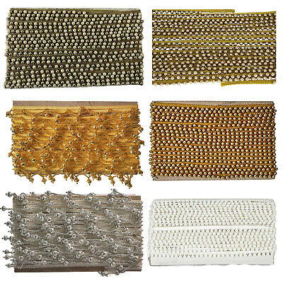 Vintage Style Pearl Beaded Lace Trim Edge Ribbons For Sewing Clothes Curtain 2m • 4.49£
