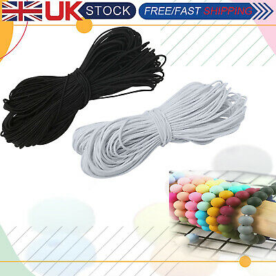 £3.09 • Buy 1mm 1.5mm White Black Thin Round Elastic Polyester Cord Sewing Craft Masks