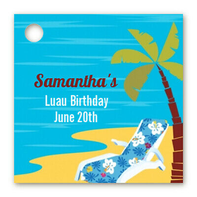 Luau - Personalized Birthday Party Card Stock Favor Tags - Set Of 20 • 5.20£