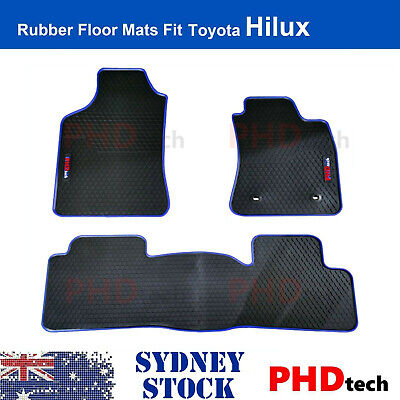 AU85 • Buy Tailor Made All Weather Rubber Floor Mats For TOYOTA HILUX 2005-15 Dual Cab Blue