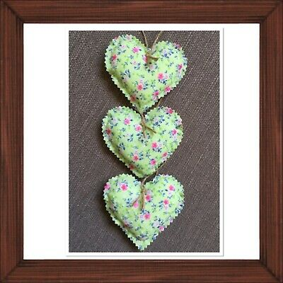 Set Of 3 Handmade Fabric Hanging Love Hearts Pale Green Vintage / Shabby Chic • 4.25£
